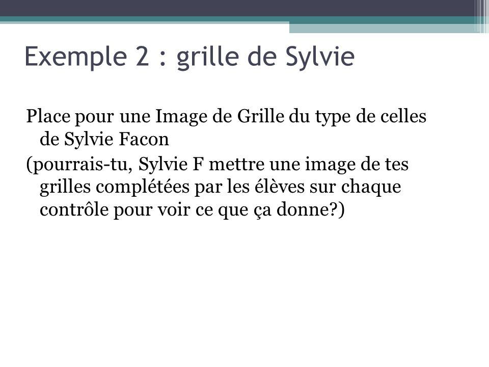 Exemple 2 : grille de Sylvie Place pour une Image de Grille du type de celles de Sylvie Facon (pourrais-tu, Sylvie F mettre une image de tes grilles complétées par les élèves sur chaque contrôle pour voir ce que ça donne )
