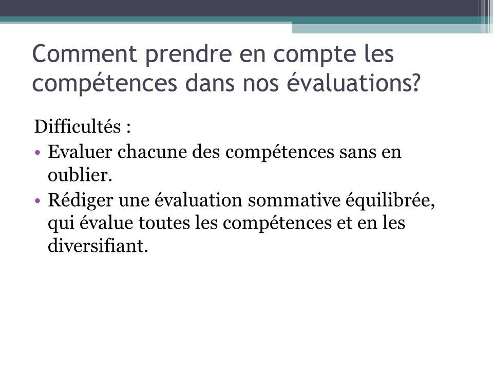 Comment prendre en compte les compétences dans nos évaluations.