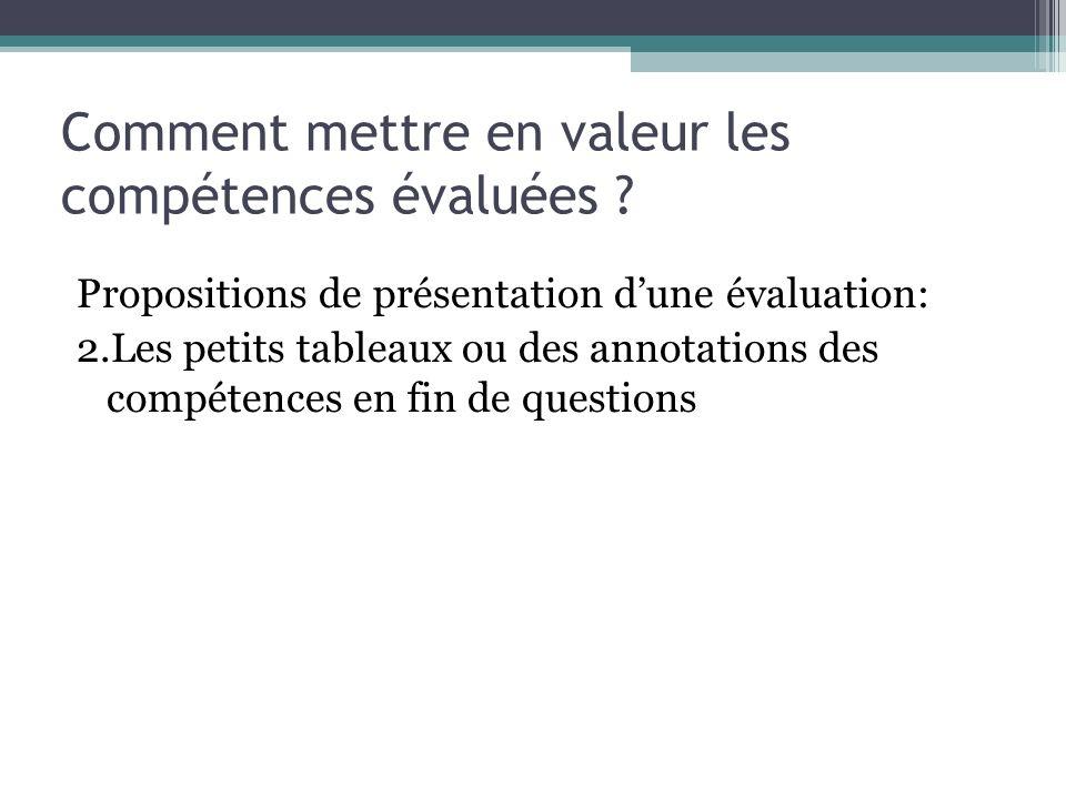 Les compétences évaluées sont indiquées dans le sujet précisément Tableau bilan des compétences de cette lévaluation
