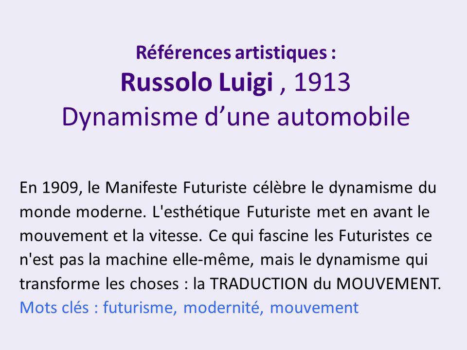 En 1909, le Manifeste Futuriste célèbre le dynamisme du monde moderne. L'esthétique Futuriste met en avant le mouvement et la vitesse. Ce qui fascine