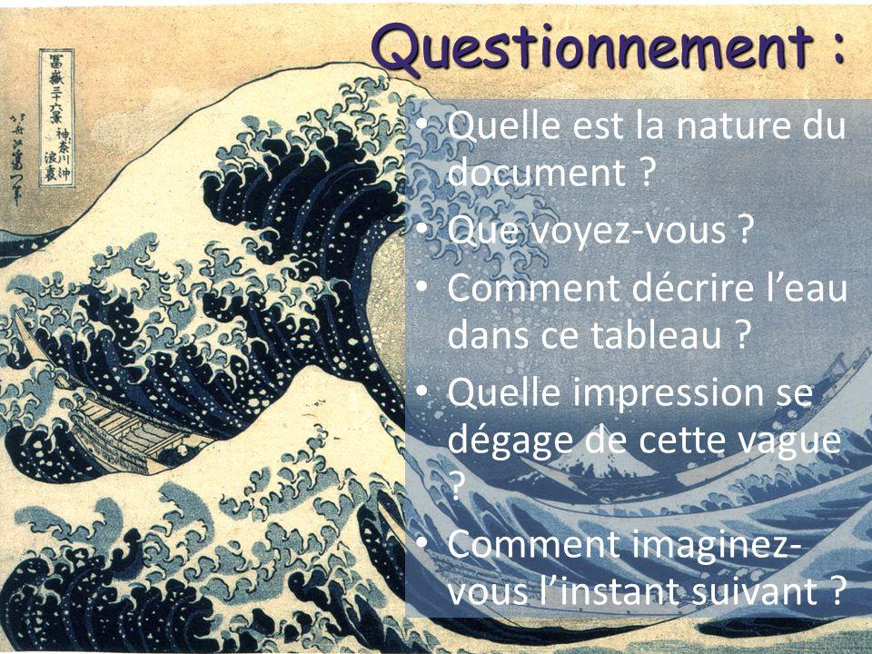 Exemple dexploitation des réponses Leau est incolore mais elle reflète ou dévie la lumière du ciel, cest ainsi quelle peut paraître bleue (Hokusai utilise le bleu de Prusse), blanche…
