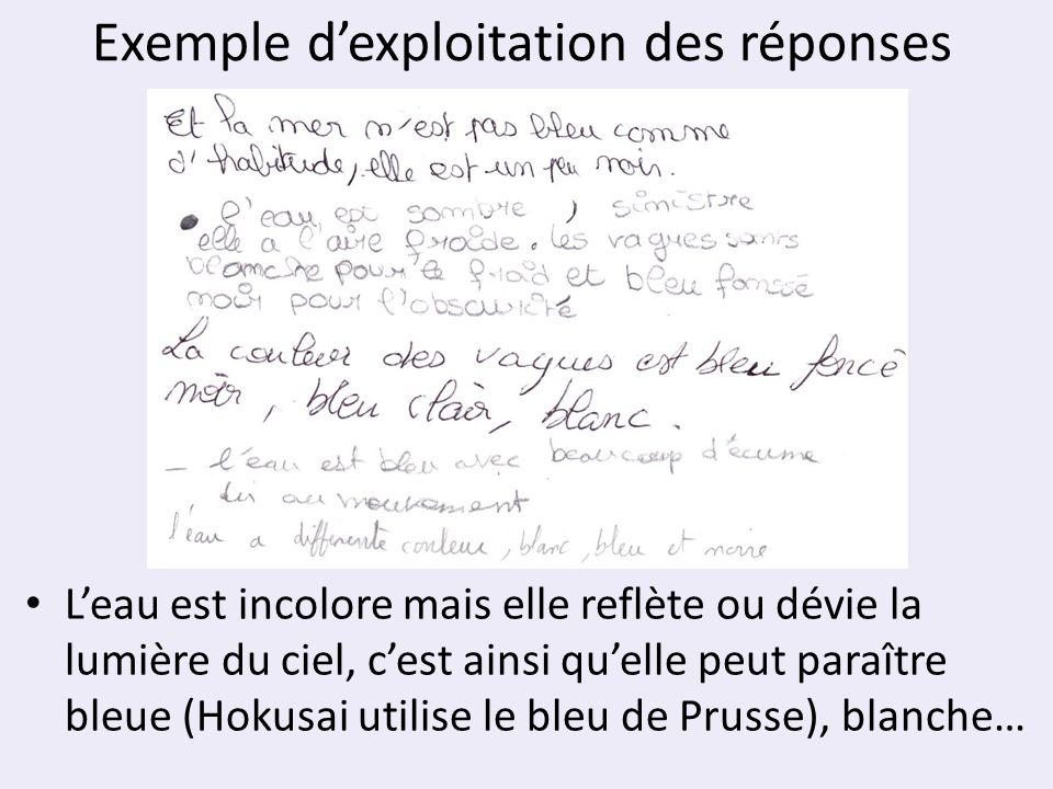 Exemple dexploitation des réponses Leau est incolore mais elle reflète ou dévie la lumière du ciel, cest ainsi quelle peut paraître bleue (Hokusai uti