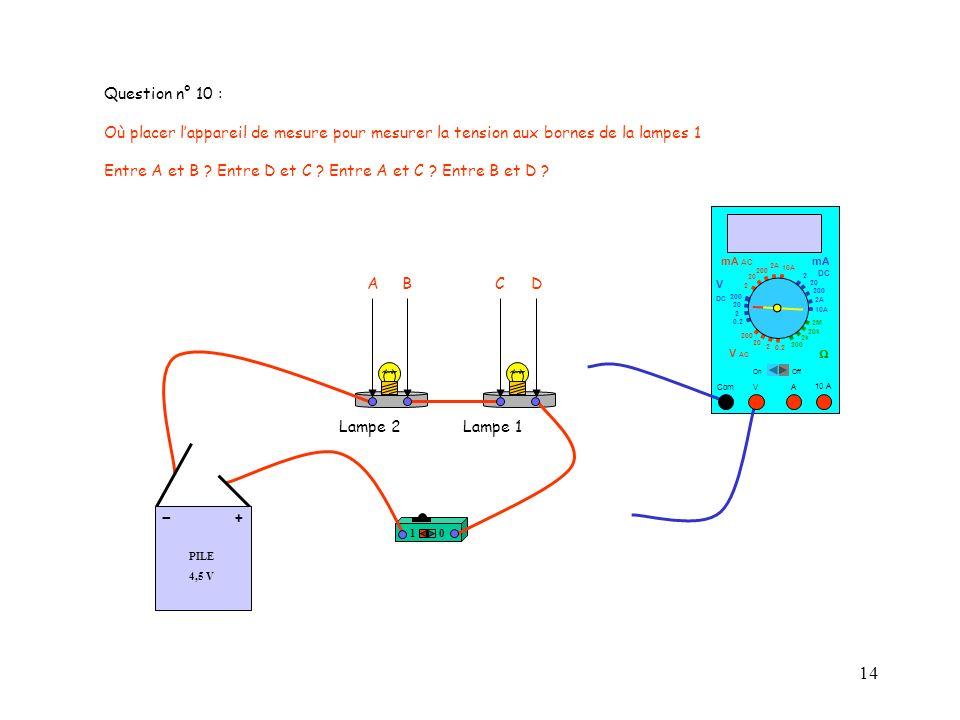 14 Question n° 10 : Où placer lappareil de mesure pour mesurer la tension aux bornes de la lampes 1 Entre A et B ? Entre D et C ? Entre A et C ? Entre