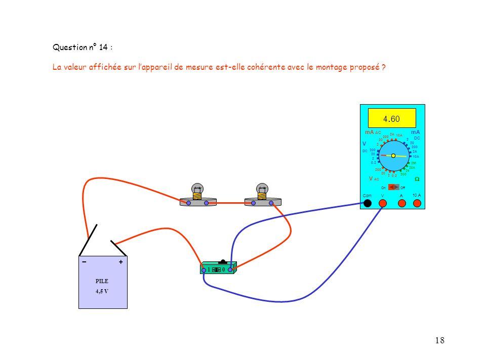 18 10 PILE 4,5 V + - 10 A 4. 60 Com mA DC A OffOn 10A 2A 200 20 V 2 V AC mA AC V DC 2M 20k 2k 200 0.2 2 200 20 2 0.2 2 20 200 10A 2A 200 20 Question n