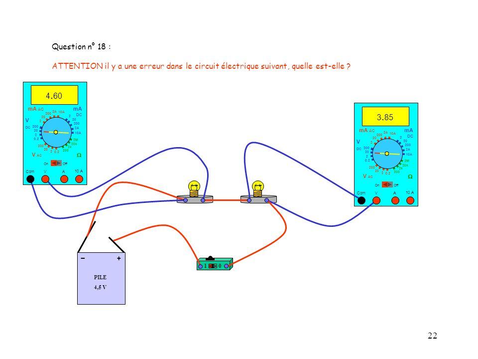 22 PILE 4,5 V + - 10 10 A 3. 85 Com mA DC A OffOn 10A 2A 200 20 V 2 V AC mA AC V DC 2M 20k 2k 200 0.2 2 200 20 2 0.2 2 20 200 10A 2A 200 20 10 A 4. 60