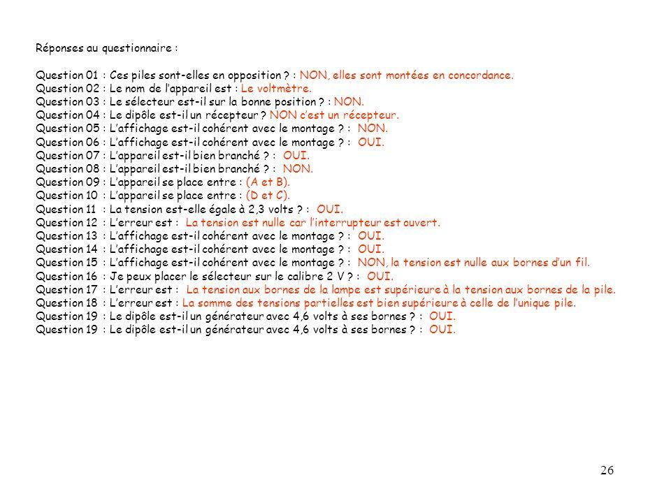 26 Réponses au questionnaire : Question 01: Ces piles sont-elles en opposition ? : NON, elles sont montées en concordance. Question 02: Le nom de lapp