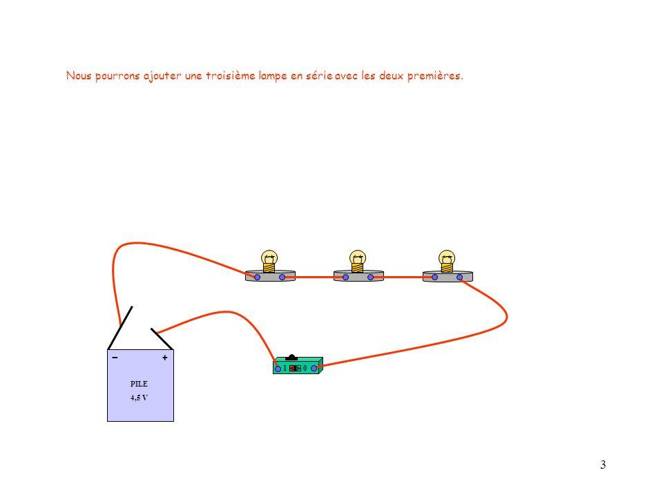 14 Question n° 10 : Où placer lappareil de mesure pour mesurer la tension aux bornes de la lampes 1 Entre A et B .