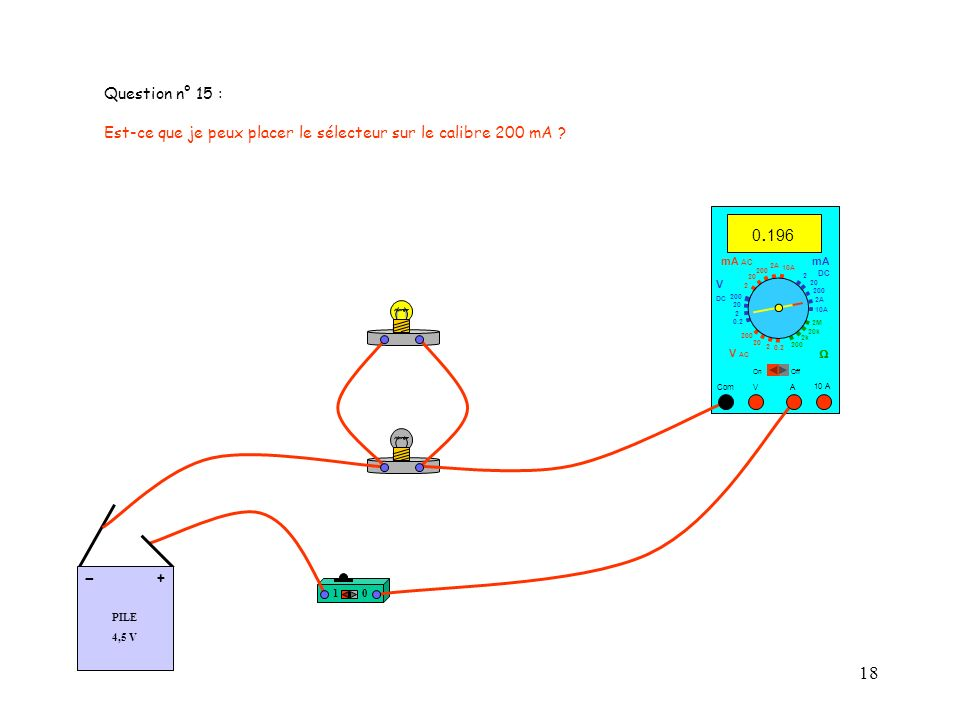 18 Question n° 15 : Est-ce que je peux placer le sélecteur sur le calibre 200 mA .