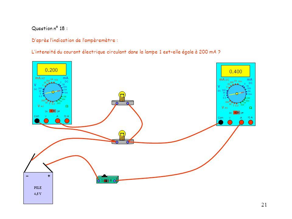 21 Question n° 18 : Daprès lindication de lampèremètre : Lintensité du courant électrique circulant dans la lampe 1 est-elle égale à 200 mA .