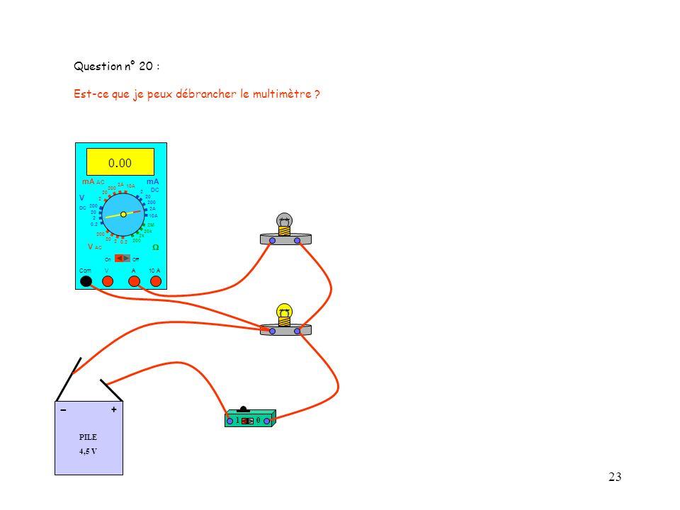 23 Question n° 20 : Est-ce que je peux débrancher le multimètre .