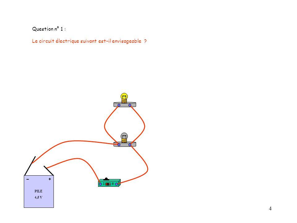 4 Question n° 1 : Le circuit électrique suivant est-il envisageable ? 10 PILE 4,5 V + -