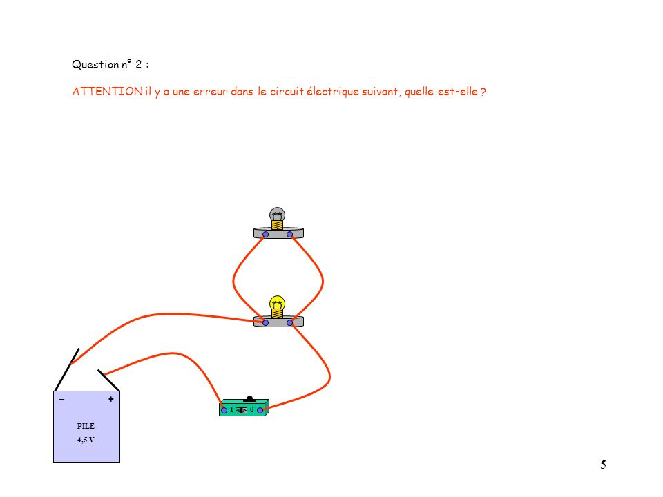 5 Question n° 2 : ATTENTION il y a une erreur dans le circuit électrique suivant, quelle est-elle .