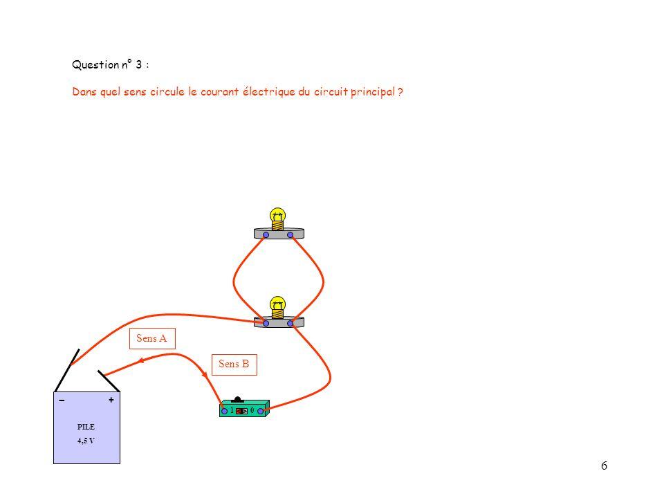 7 Question n° 4 : Quel appareil de mesure utilise-t-on pour mesurer lintensité du courant électrique .