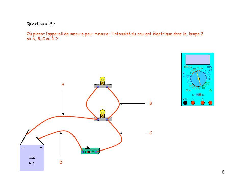 9 Question n° 6 : Lappareil de mesure est-il bien branché pour mesurer lintensité du courant électrique dans la lampe 1 .