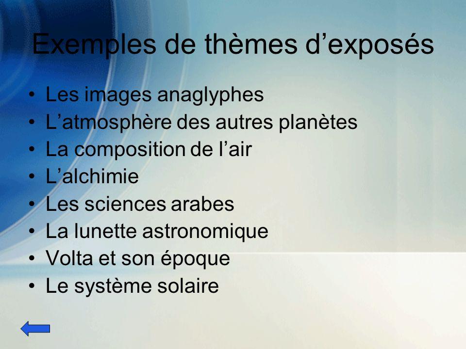 Exemples de thèmes dexposés Les images anaglyphes Latmosphère des autres planètes La composition de lair Lalchimie Les sciences arabes La lunette astronomique Volta et son époque Le système solaire
