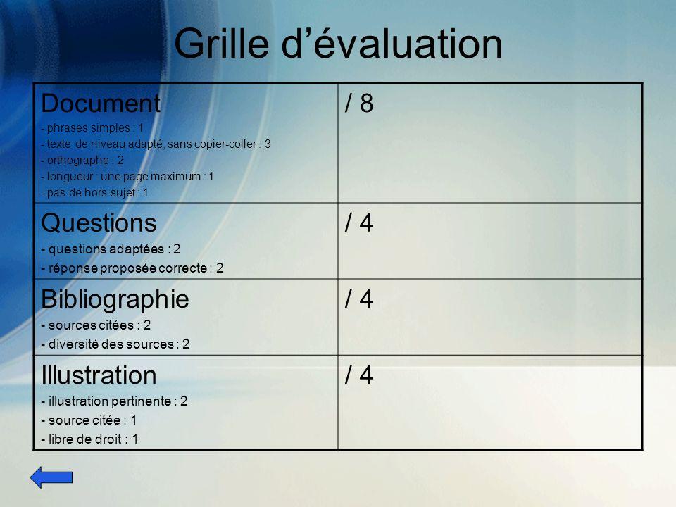Grille dévaluation Document - phrases simples : 1 - texte de niveau adapté, sans copier-coller : 3 - orthographe : 2 - longueur : une page maximum : 1