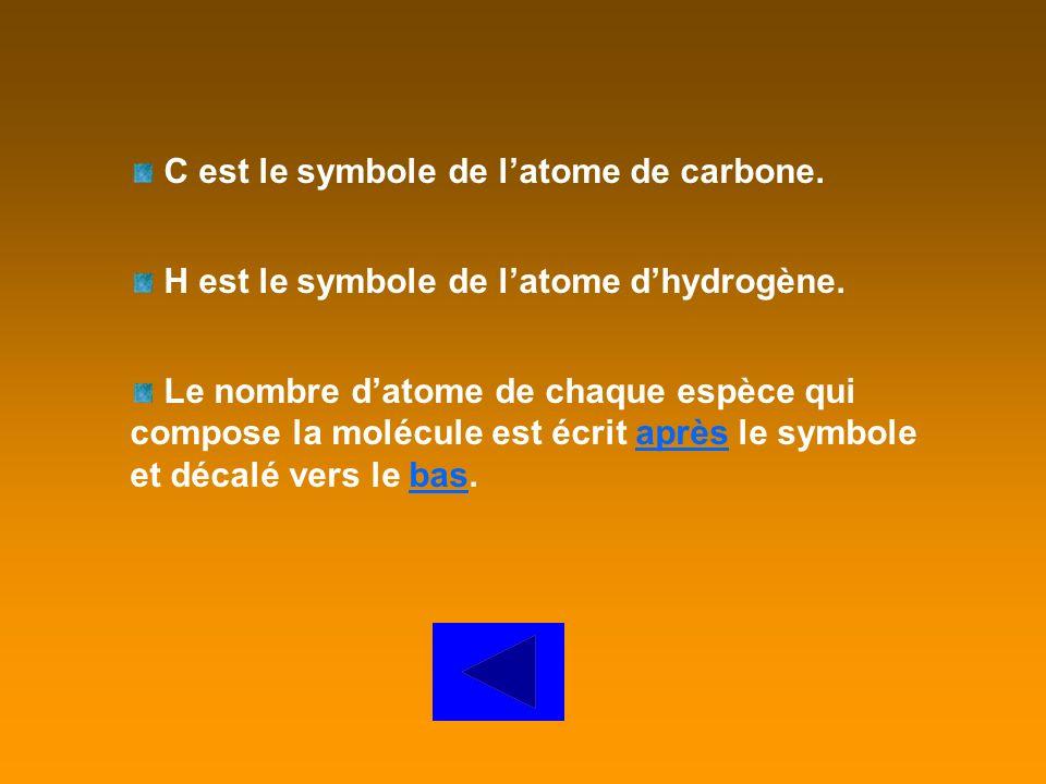 O est le symbole de latome doxygène. Le nombre datome de chaque espèce qui compose la molécule est écrit après le symbole et décalé vers le bas.