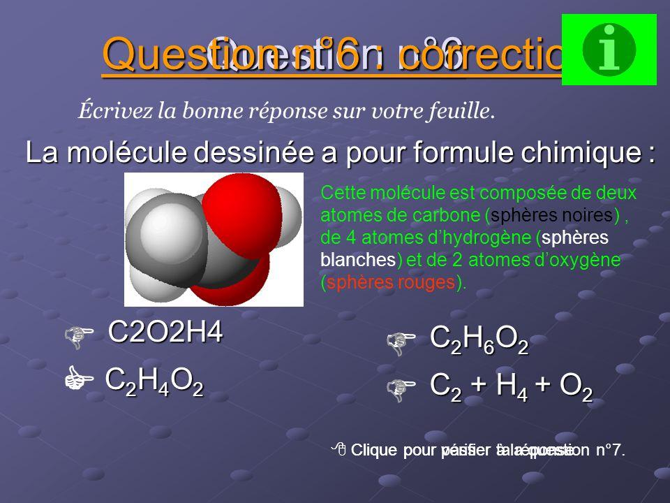 Question n°5 C2H6 C2H6 C2H6 C2H6 Écrivez la bonne réponse sur votre feuille. Question n°5 : correction Clique pour vérifier ta réponse. Clique pour pa