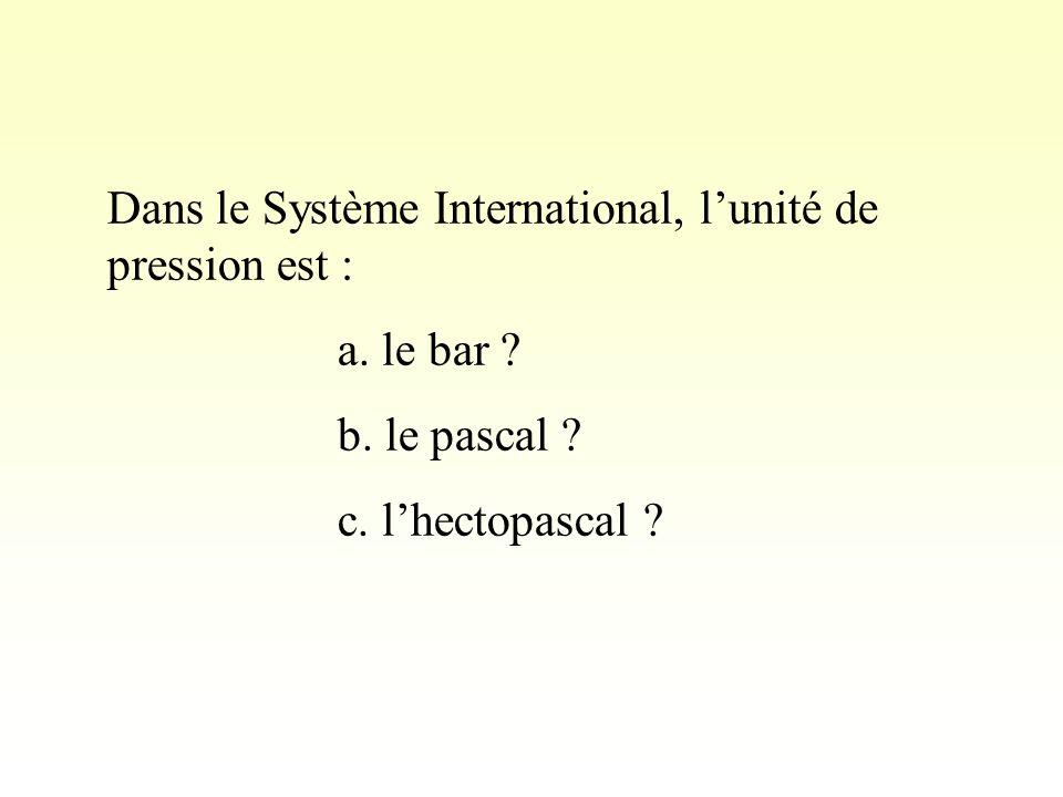 Dans le Système International, lunité de pression est : a.