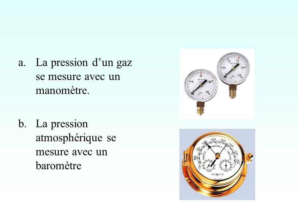 a.La pression dun gaz se mesure avec un manomètre.
