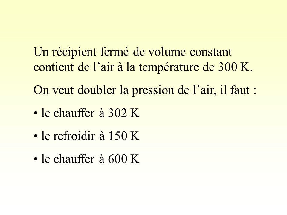 Un récipient fermé de volume constant contient de lair à la température de 300 K.