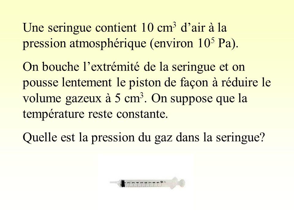Une seringue contient 10 cm 3 dair à la pression atmosphérique (environ 10 5 Pa).