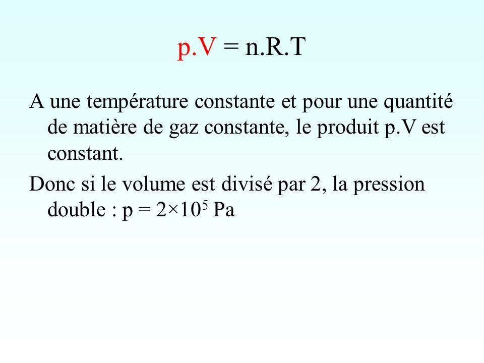 p.V = n.R.T A une température constante et pour une quantité de matière de gaz constante, le produit p.V est constant.