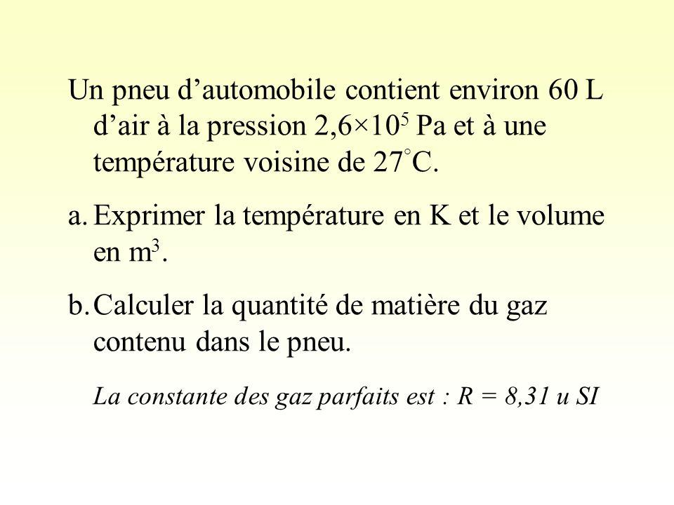 Un pneu dautomobile contient environ 60 L dair à la pression 2,6×10 5 Pa et à une température voisine de 27 ° C.
