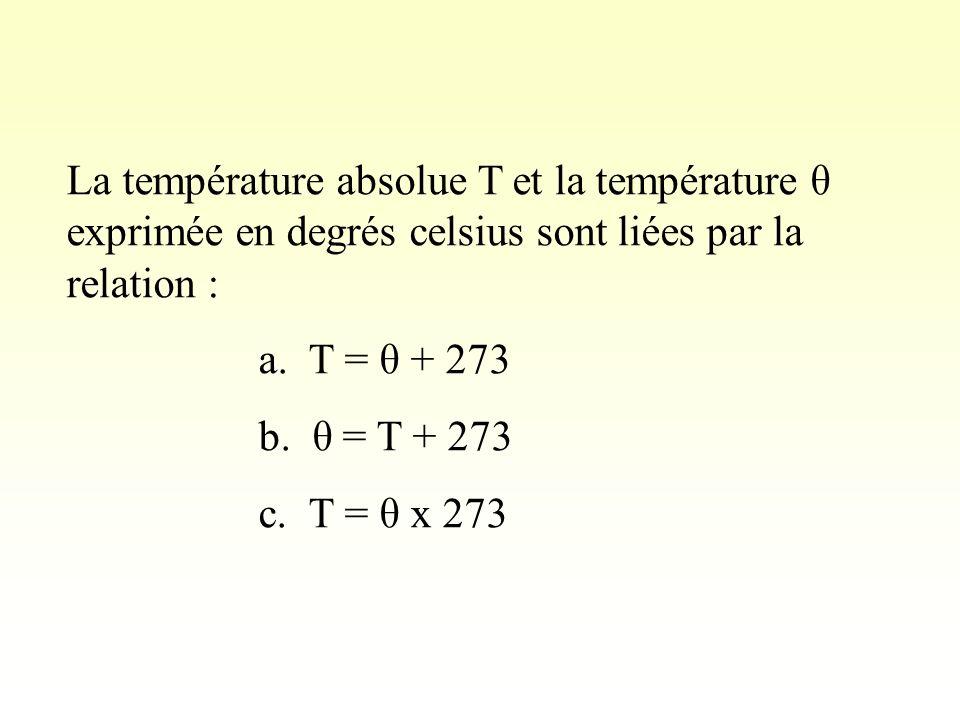 La température absolue T et la température θ exprimée en degrés celsius sont liées par la relation : a.