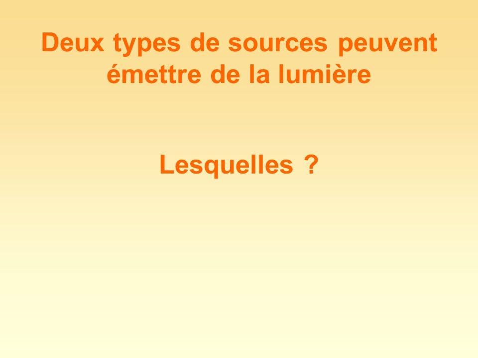 Deux types de sources peuvent émettre de la lumière Lesquelles ?
