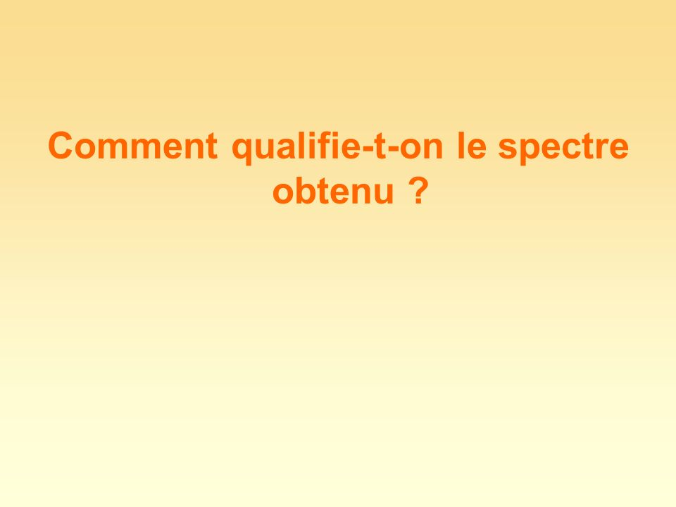 Comment qualifie-t-on le spectre obtenu