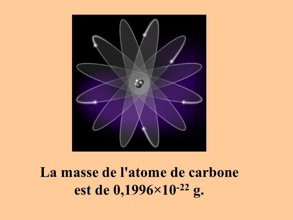 La masse de l atome de carbone est de 0,1996×10 -22 g.