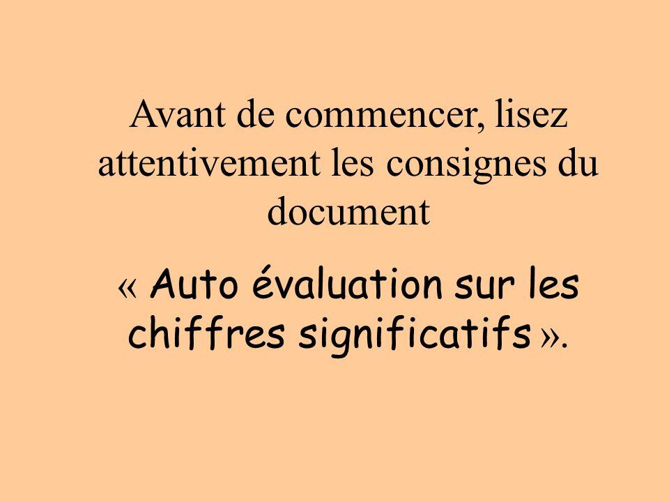 Avant de commencer, lisez attentivement les consignes du document « Auto évaluation sur les chiffres significatifs ».