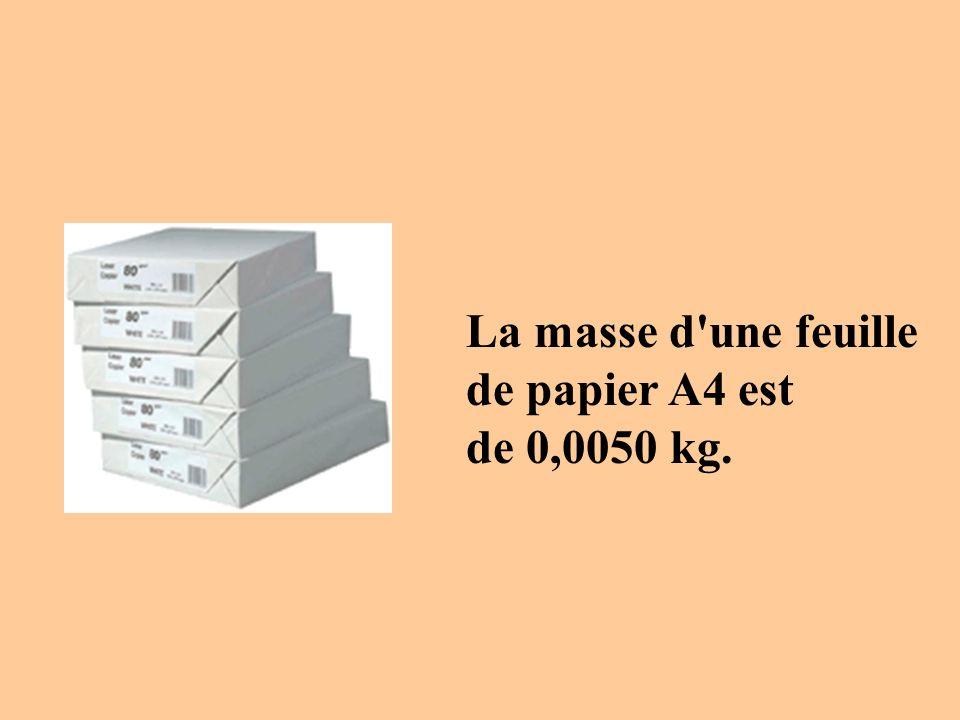 La masse d une feuille de papier A4 est de 0,0050 kg.