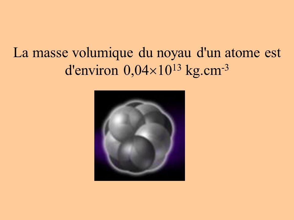 La masse volumique du noyau d un atome est d environ 0,04 10 13 kg.cm -3