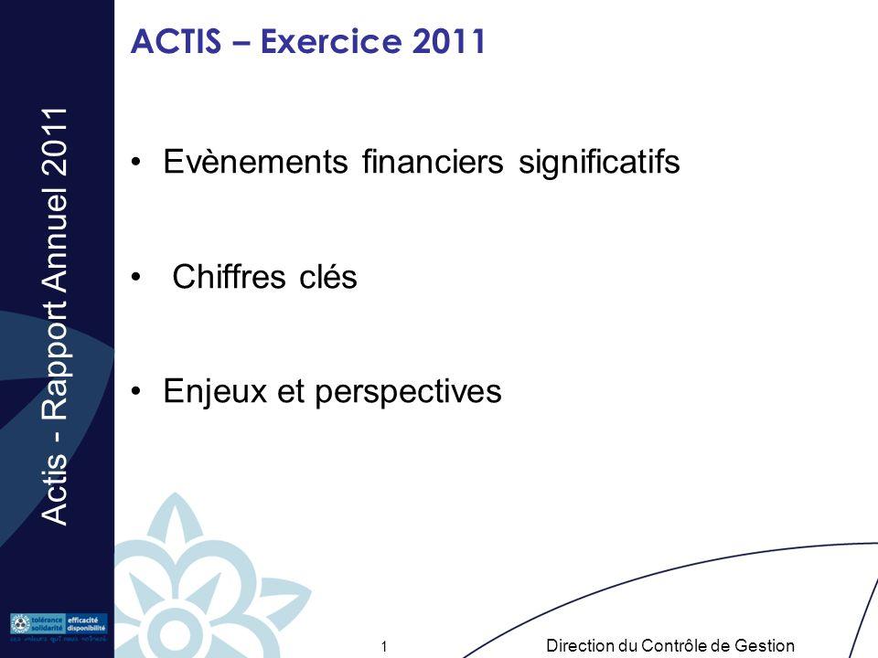 Actis - Rapport Annuel 2011 Direction du Contrôle de Gestion 1 ACTIS – Exercice 2011 Evènements financiers significatifs Chiffres clés Enjeux et persp