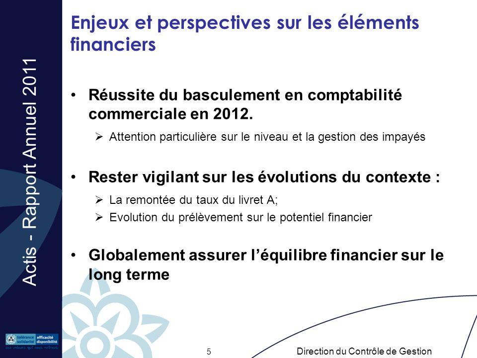 Actis - Rapport Annuel 2011 Direction du Contrôle de Gestion 5 Enjeux et perspectives sur les éléments financiers Réussite du basculement en comptabil