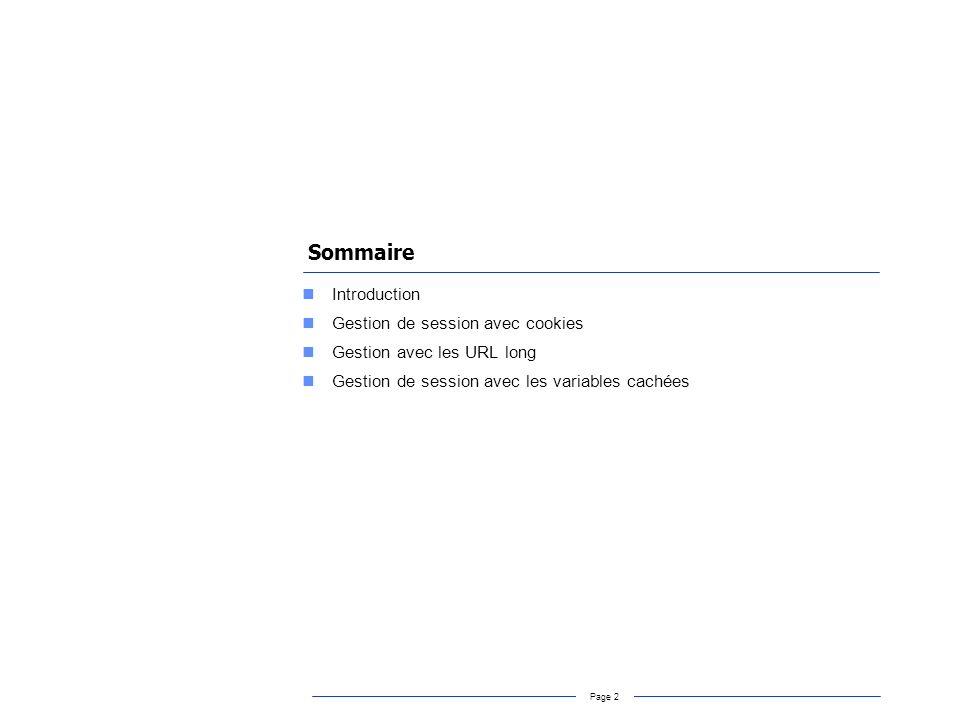 Page 2 Sommaire Introduction Gestion de session avec cookies Gestion avec les URL long Gestion de session avec les variables cachées