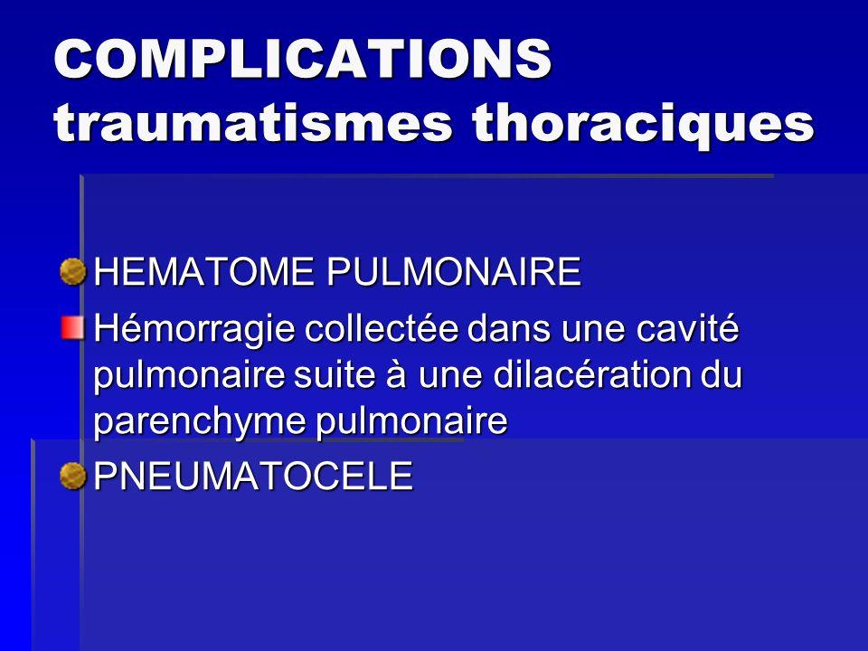 COMPLICATIONS traumatismes thoraciques HEMATOME PULMONAIRE Hémorragie collectée dans une cavité pulmonaire suite à une dilacération du parenchyme pulm