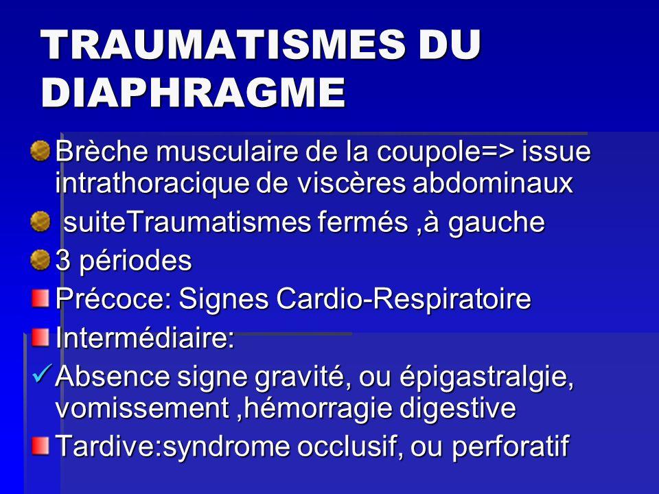 TRAUMATISMES DU DIAPHRAGME Brèche musculaire de la coupole=> issue intrathoracique de viscères abdominaux suiteTraumatismes fermés,à gauche suiteTraum
