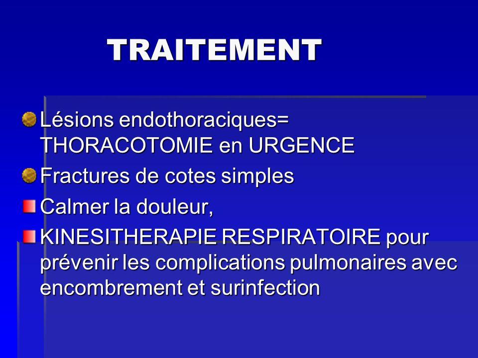 TRAITEMENT TRAITEMENT Lésions endothoraciques= THORACOTOMIE en URGENCE Fractures de cotes simples Calmer la douleur, KINESITHERAPIE RESPIRATOIRE pour