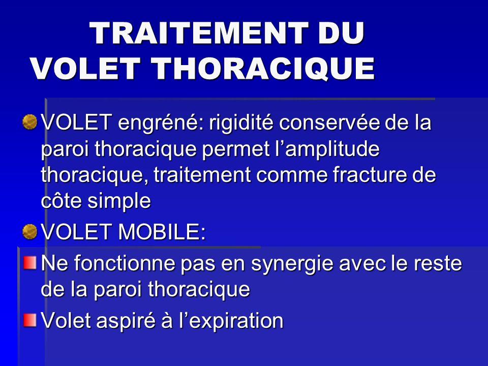 TRAITEMENT DU VOLET THORACIQUE TRAITEMENT DU VOLET THORACIQUE VOLET engréné: rigidité conservée de la paroi thoracique permet lamplitude thoracique, t