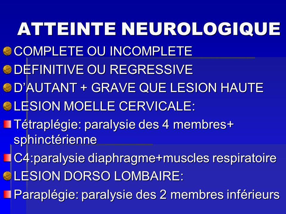 ATTEINTE NEUROLOGIQUE COMPLETE OU INCOMPLETE DEFINITIVE OU REGRESSIVE DAUTANT + GRAVE QUE LESION HAUTE LESION MOELLE CERVICALE: Tétraplégie: paralysie
