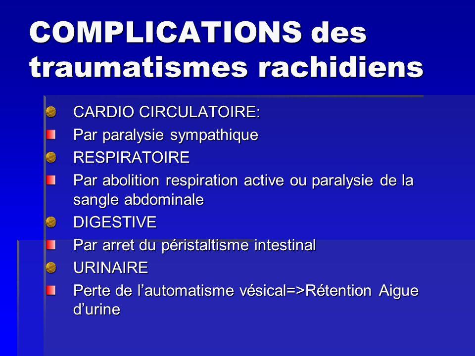 COMPLICATIONS des traumatismes rachidiens CARDIO CIRCULATOIRE: Par paralysie sympathique RESPIRATOIRE Par abolition respiration active ou paralysie de