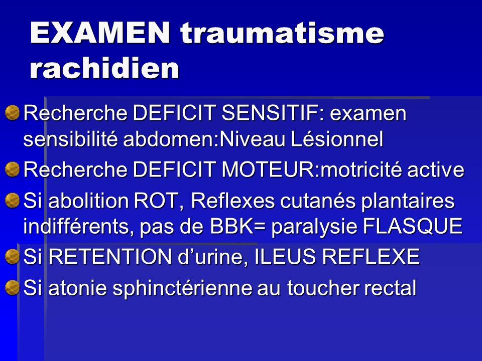 EXAMEN traumatisme rachidien Recherche DEFICIT SENSITIF: examen sensibilité abdomen:Niveau Lésionnel Recherche DEFICIT MOTEUR:motricité active Si abol