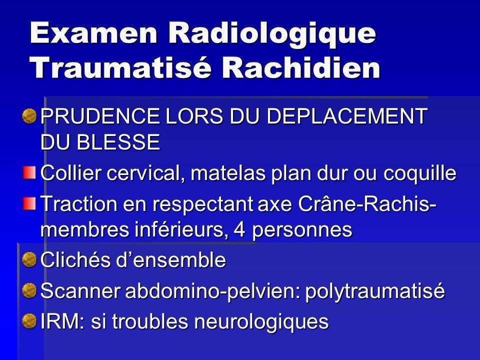 Examen Radiologique Traumatisé Rachidien PRUDENCE LORS DU DEPLACEMENT DU BLESSE Collier cervical, matelas plan dur ou coquille Traction en respectant