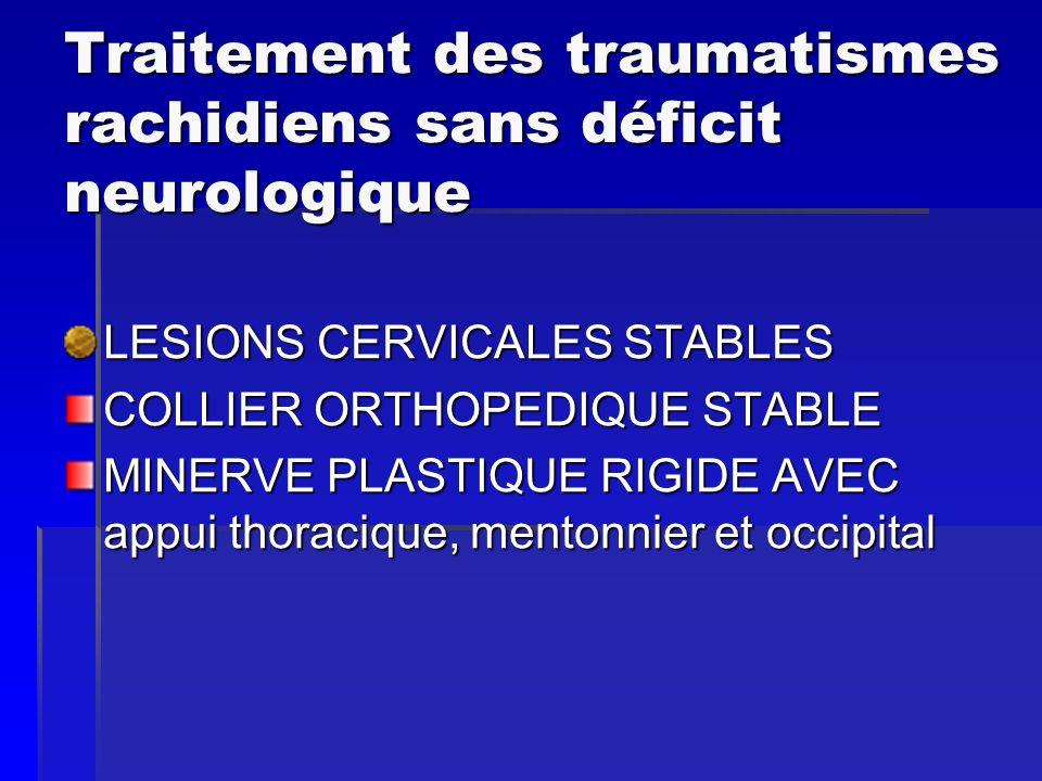 Traitement des traumatismes rachidiens sans déficit neurologique LESIONS CERVICALES STABLES COLLIER ORTHOPEDIQUE STABLE MINERVE PLASTIQUE RIGIDE AVEC