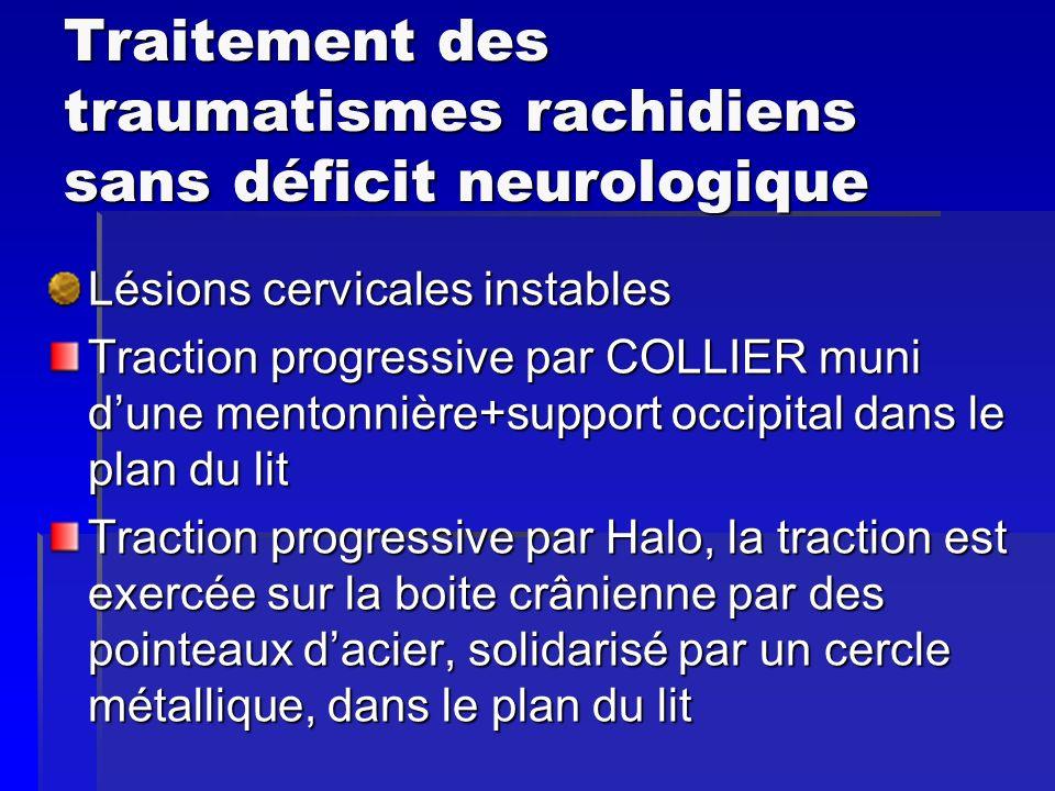Traitement des traumatismes rachidiens sans déficit neurologique Lésions cervicales instables Traction progressive par COLLIER muni dune mentonnière+s