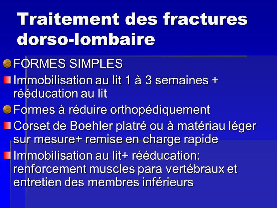 Traitement des fractures dorso-lombaire FORMES SIMPLES Immobilisation au lit 1 à 3 semaines + rééducation au lit Formes à réduire orthopédiquement Cor