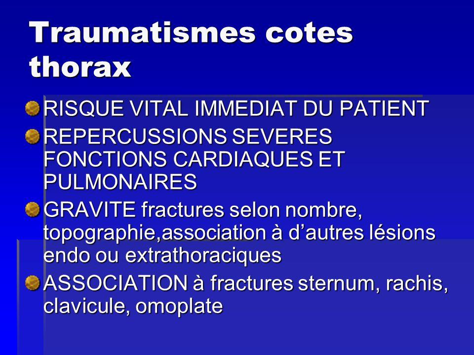 Traumatismes cotes thorax RISQUE VITAL IMMEDIAT DU PATIENT REPERCUSSIONS SEVERES FONCTIONS CARDIAQUES ET PULMONAIRES GRAVITE fractures selon nombre, t